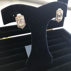 👻 Vintage Silver Rhinestone CLIP ON Earrings